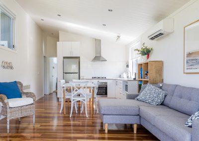Surfside Cabin (sleeps 6) living and kitchen