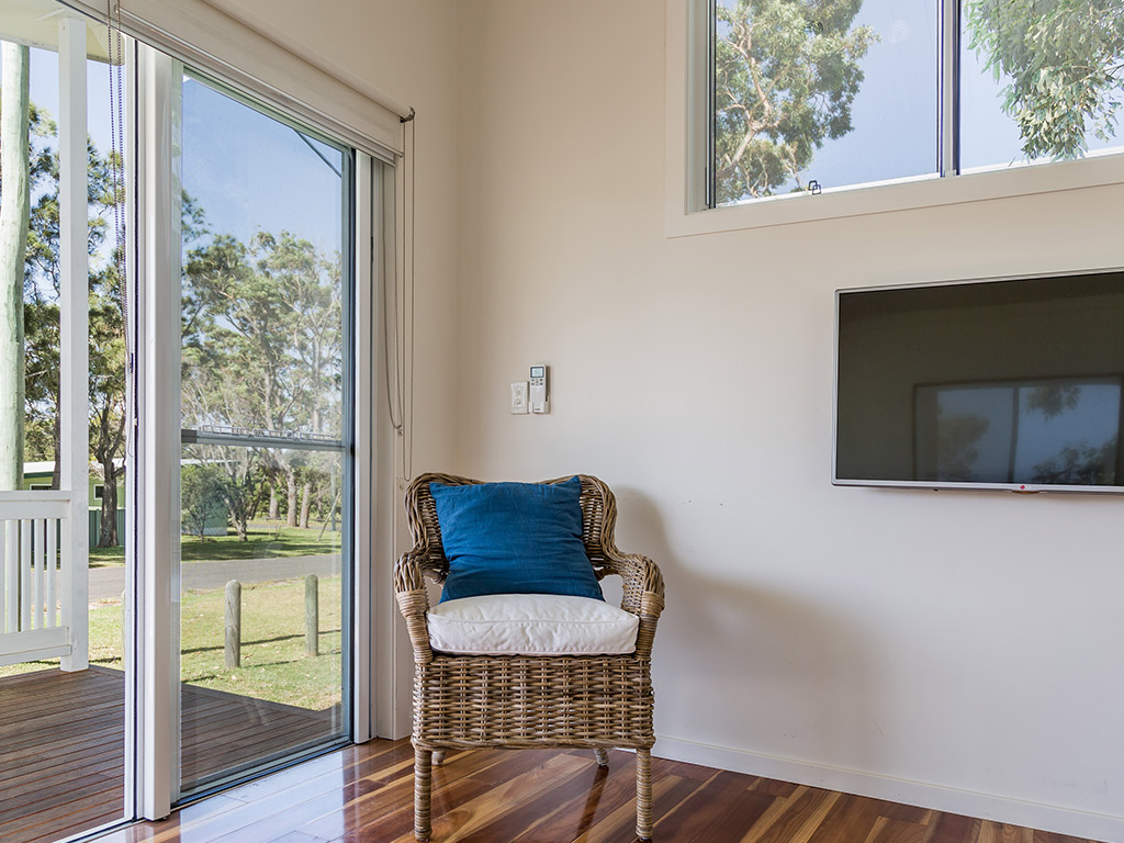 Surfside Cabin (sleeps 6) living looking out from sofa (1)